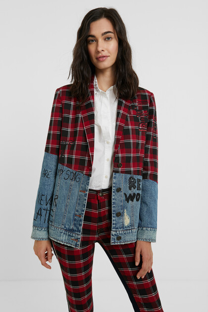 Tartan blazer denim jacket