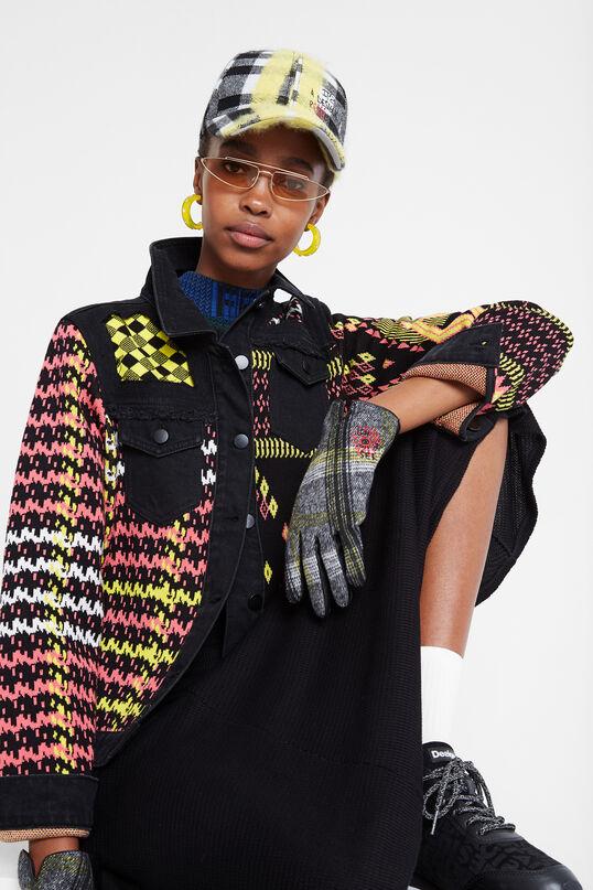 Embroidered tartan gloves | Desigual