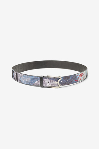 Denim print belt