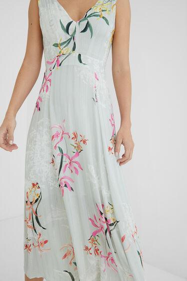 Midi-dress floral and Lurex stripes | Desigual