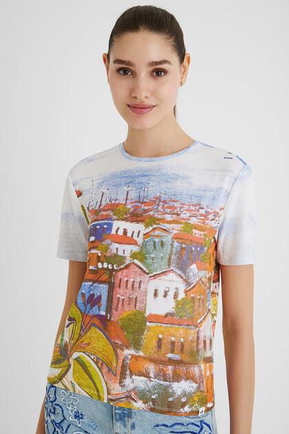 Geribbeld arty T-shirt