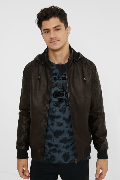 Hooded biker jacket
