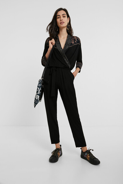 Full-length trouser jumpsuit flowers