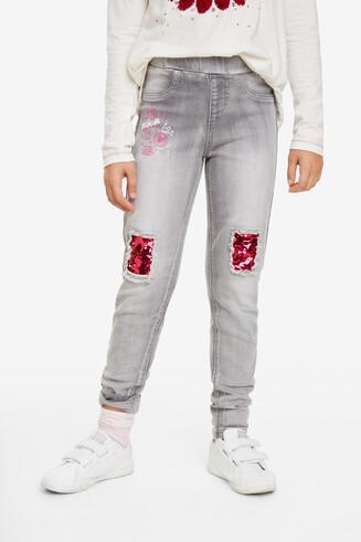 Pantalon à empiècements à paillettes