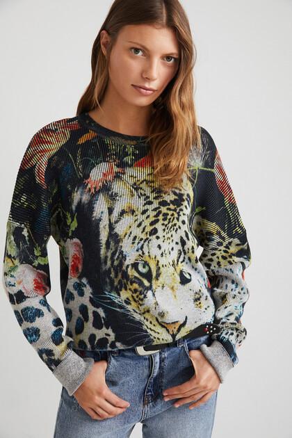 Maglione a maglia stampa animalier fiori