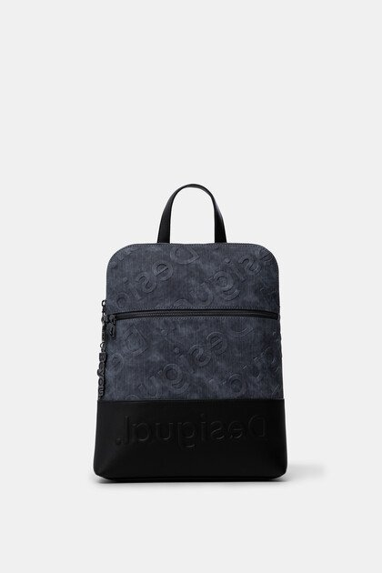 Denim backpack logo