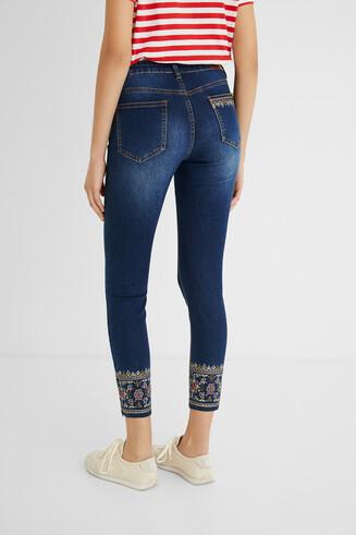 Skinny ankle grazer ethnic jeans