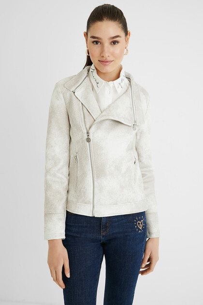 Slim biker jacket embroideries