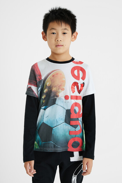 Photographic football print T-shirt