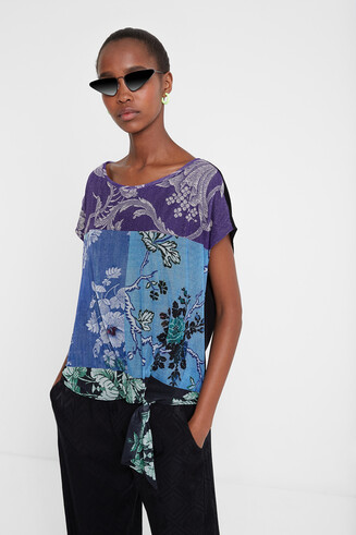 T-shirt patchwork foulard noué Designed by M. Christian Lacroix