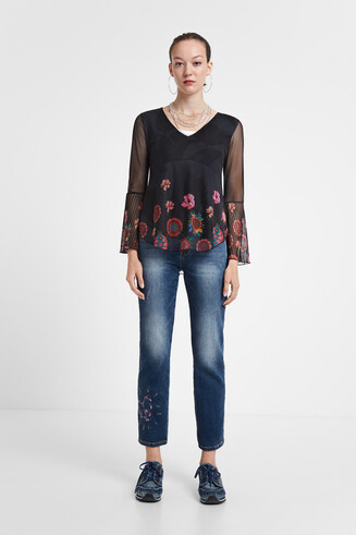 T-shirt fleuri transparences