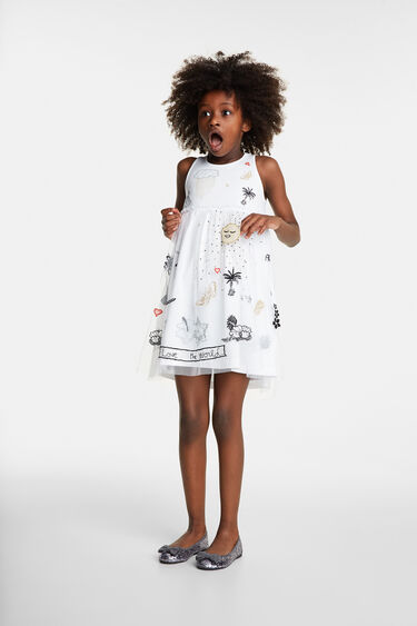 Dress with embroideries and tulle | Desigual
