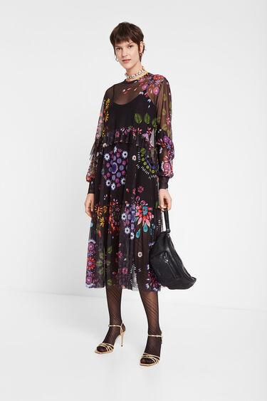 Robe longue double couche à tulle fleuri | Desigual