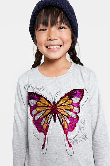 Camiseta mariposa lentejuela reversible | Desigual