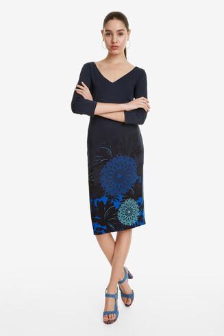 Blue Double V-Neck Dress Florencia