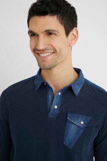 Cotton and denim polo shirt | Desigual