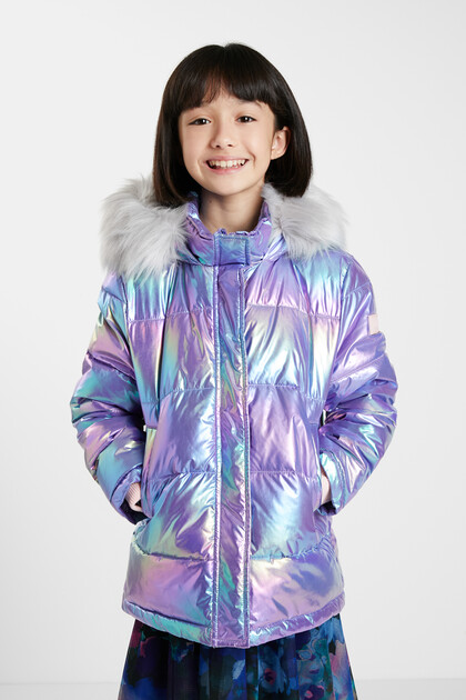 Gewatteerde jas met iriserend effect