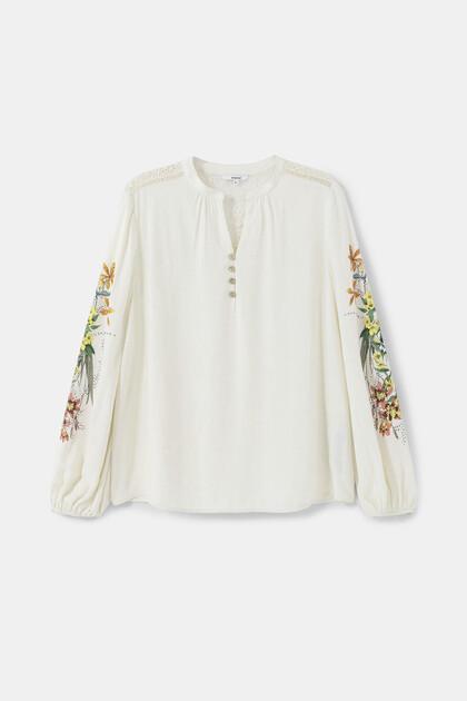Linen blouse crochet back