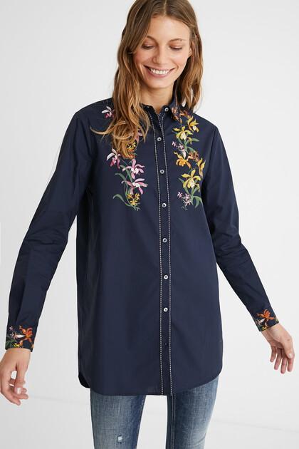 Lange Bluse mit Blumenmuster