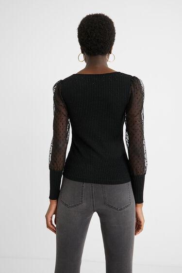 Transparent sleeves top | Desigual
