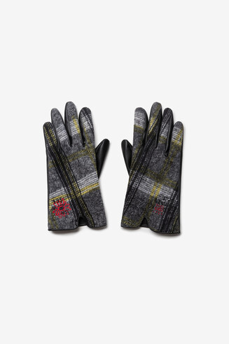 Embroidered tartan gloves