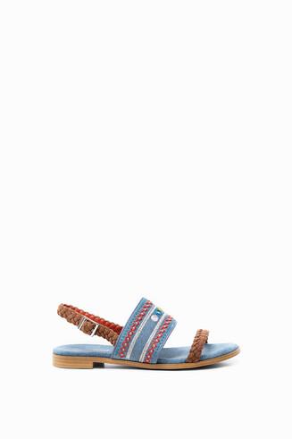 Embroidered denim sandals