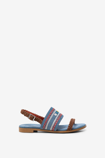Embroidered denim sandals