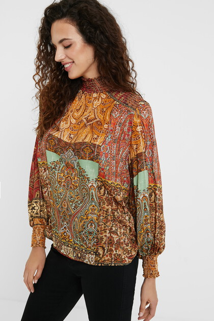 Moroccan print Lurex blouse