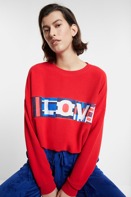 Eco adjustable sweatshirt with LOVE message