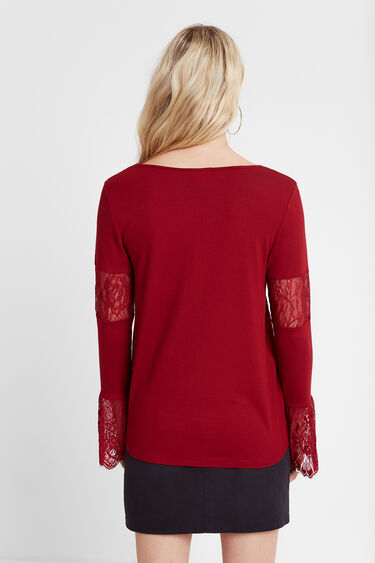 T-shirt dentelle fleuri | Desigual