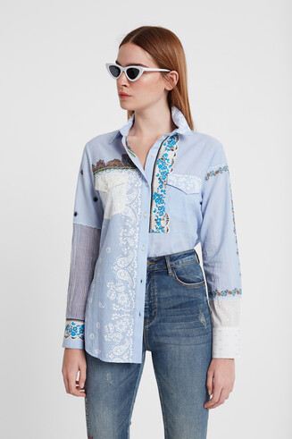 Floral patch shirt