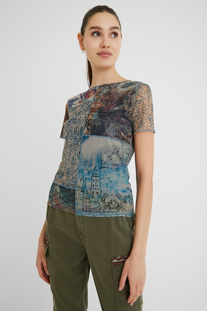 T-shirt slim tulle paysages