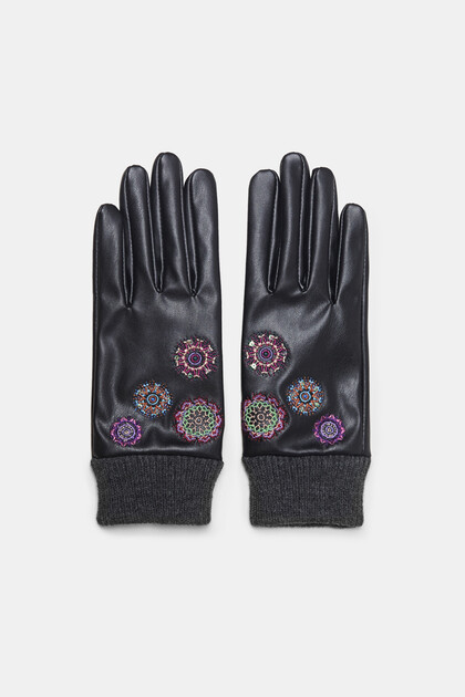 Embroidered synthetic leather gloves