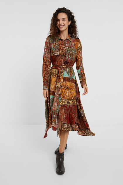 Shirt dress metallic print