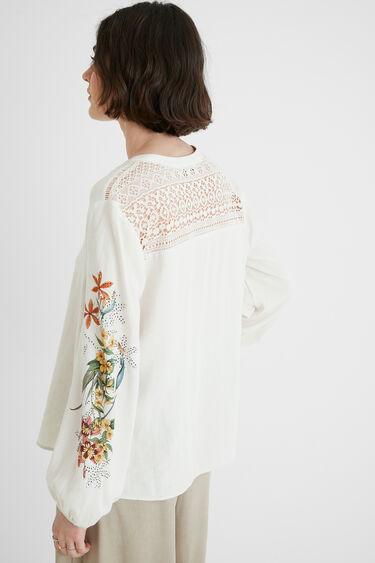 Blouse lin crochet dos | Desigual