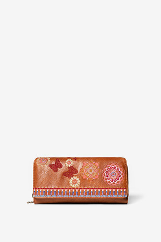 Rectangular embroidered coin wallet