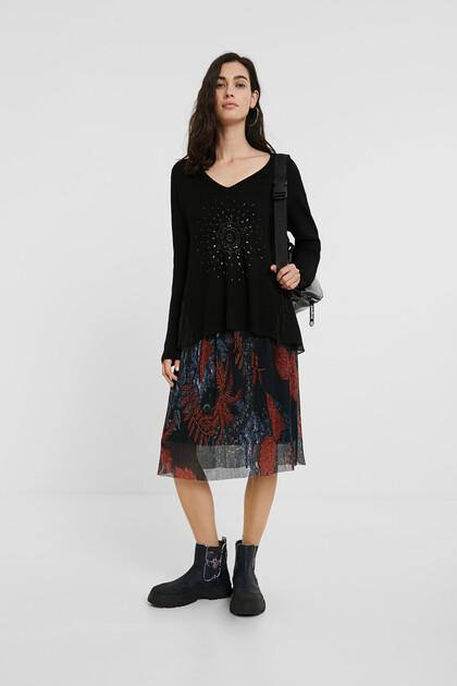 スタッズ&曼荼羅模様 セーター