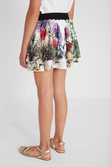 Krótka spódnica z warstwami siateczki z nadrukiem | Desigual