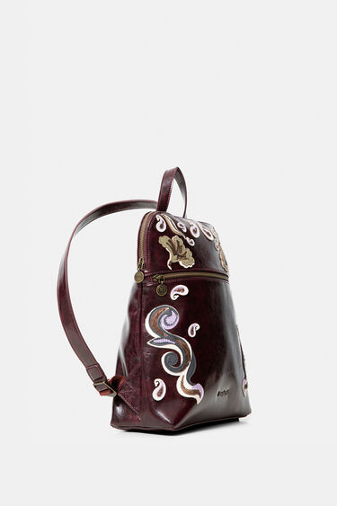 Square backpack embroidered leather effect | Desigual