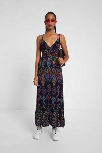Long eco dress with geometric print