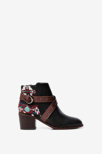 Jacquard buckled ankle boots