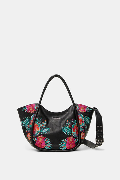 Floral shoulder-tote bag