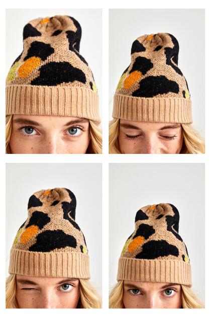 Cuffed leopard hat