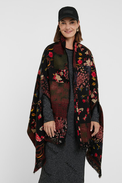 Reversible floral square poncho