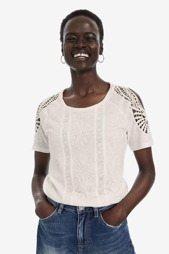Short-sleeved crochet T-shirt | Desigual