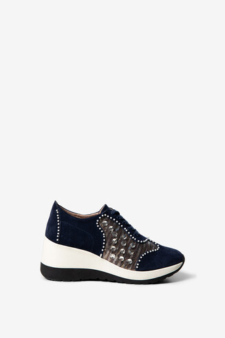 Suede and sequins sneakers with wedge
