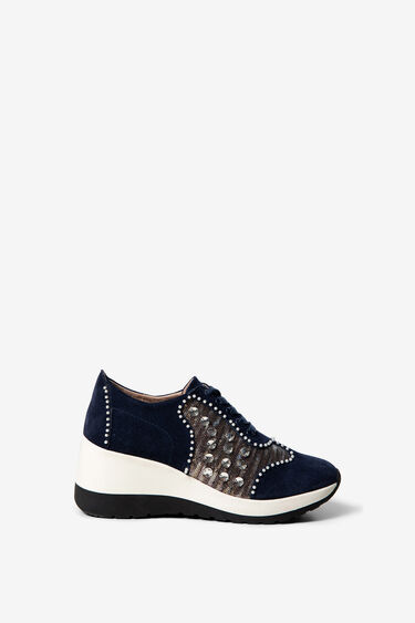 Suede and sequins sneakers with wedge | Desigual