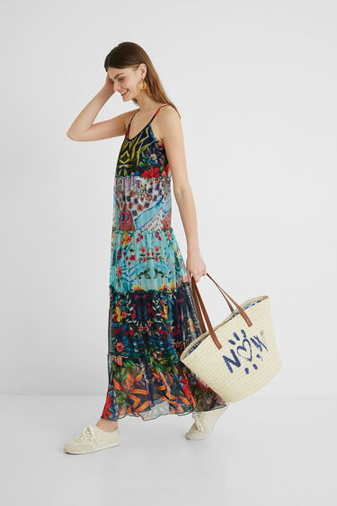 Long flared dress floral patch   Desigual