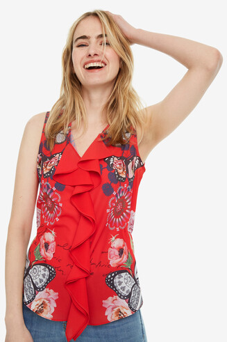 Sleeveless Blouse with Ruffle Ginebra