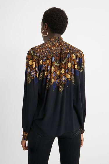 Viscose blouse gathered high neck | Desigual